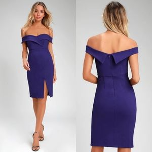 Lulu's Classic Glam Off-the-Shoulder Bodycon Dress